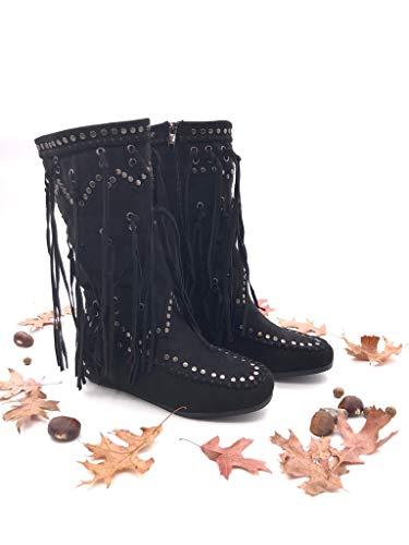 Chaussure Folk Clouté Mode Indiennes Frange Cavalier Bottes Cm Botte 5 Femme Angkorly Plat Noir Talon fwSBHqB