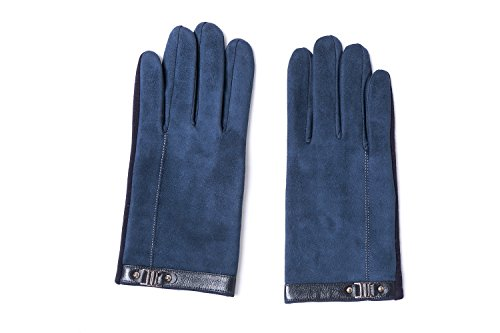 YISEVEN Men's Suede Chamois Leather Gloves Touchscreen Flat Design Plain Lined Luxury Soft Hand Warm Fur Heated Lining for Winter Spring Stylish Dress Work Xmas Gift and Motorcycle Driving, Blue M by YISEVEN