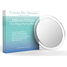 15X Magnifying Mirror – Use for Makeup Application - Tweezing – and Blackhead / Blemish Removal – Round Mirror with Three Suction Cups for Easy Mounting , 6 Inch
