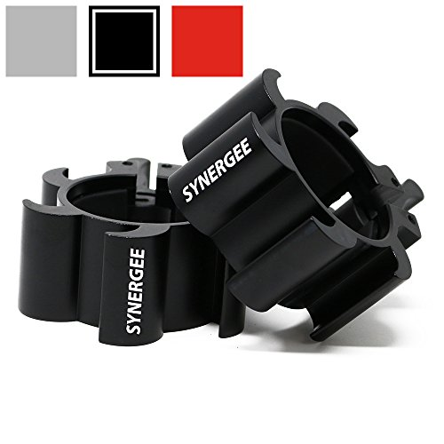 iheartsynergee Aluminium Barbell Collars – Locking 2 Olympic Size Weight Clamps - Quick Release Collar Clips – Bar Clamps Great Crossfit, Olympic Lifts Strength Training