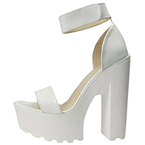OCHENTA Women's Fashion Platform Lug Sole Chunky High Heel Sandals White Tag Size 38 - US B(M) 7