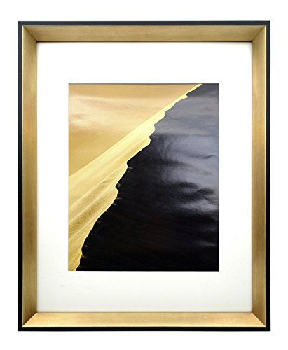 Modern Picture Frame – 11x14 Frame with Mat for 8x10 Picture. 100% Environmental Friendly, Glass Front Photo Wall Frame with Beveled Design by Onuri Inc. (BLACK&GOLD 1) (100 Gold Certificate)