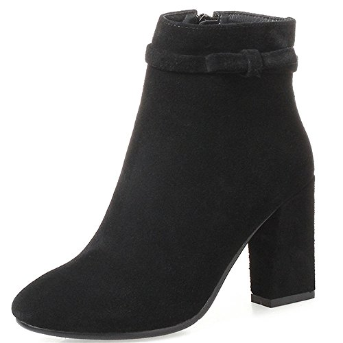Classy Suede Nine Heel Amazing Black Leather Ankle Round Boots Chunky Seven Toe Handmade Business Women's Zq8a1q