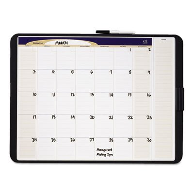 Tack & Write Monthly Calendar Board, 23 x 17, White Surface, Black Frame, Sold as 1 Each