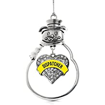 Inspired Silver 911 Dispatcher Pave Heart Snowman Holiday Decoration Christmas Tree Ornament