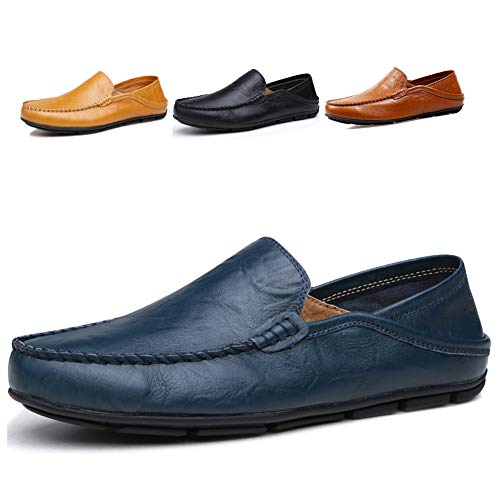 Lapens Men's Driving Shoes Premium Genuine Leather Fashion Slipper Casual Slip On Fashion Sneakers Breathable Mules Sandals Loafers Shoes LPMLFS137-DB46 Deep Blue