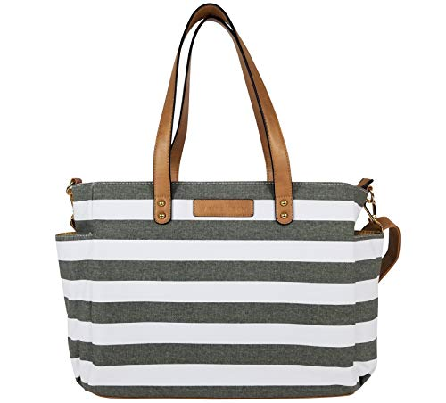 Tote White Stripe - The Aquila (New Edition) Tote Bag by White Elm | Gray, Black or Navy Blue Stripes/Gray or Black Buffalo Check (Gray)