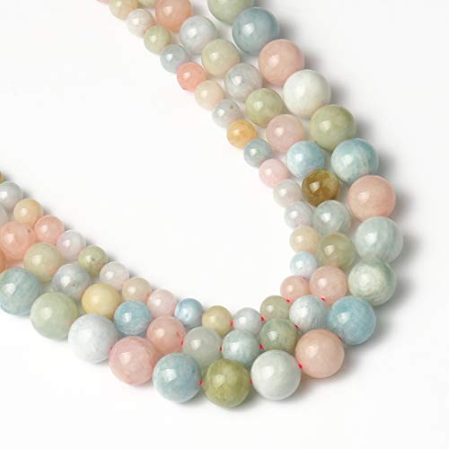 Yochus 10mm Morganite Beads Round Loose Beads Natural Gemstone Beads for Jewelry Making