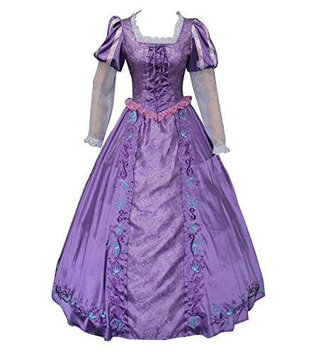 CLLMKL Tangled Costume Adults Princess Rapunzel Dress Halloween Cosplay (S) Purple]()