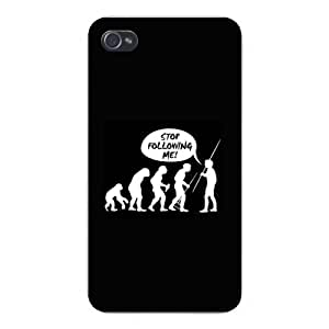 """Apple Iphone Custom Case 4 4s Snap on - Human Evolution Diagram Silhouettes """"Stop Following Me!"""
