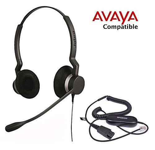 Avaya certified Jabra Biz 2300 Duo Binaural Headset Bundle for 1408 1416 2410 2420 4606 4610 4610SW 4612 4620 4620SW 4621 4621SW 4622SW 4624 4625SW 4630 4630SW 5410 5420 5610 5620 5621 5625