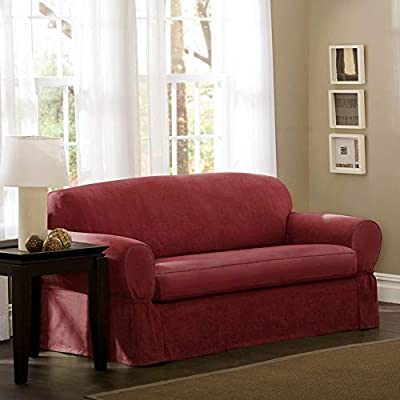 MAYTEX Piped Suede Piece Loveseat Slipcover