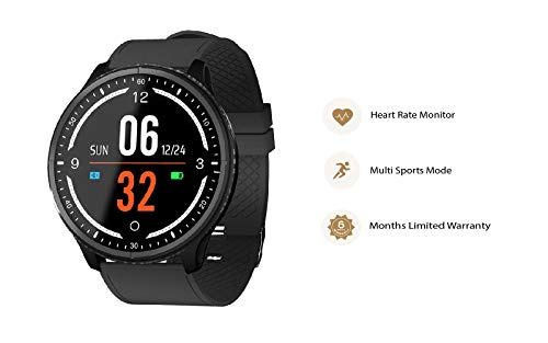 OPTA SB-090 Rubber Bluetooth Fitness Band Smart Watch for AndroidiOS Devices, Medium (Black)