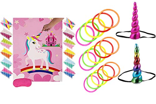 Unicorn Party Game Set-Unicorn Ring Toss Game &Pin The Horn on The Unicorn,Birthday Party Favor Games for Kids,Perfect Gift For Birthday with rewards Unicorn Gifts. -