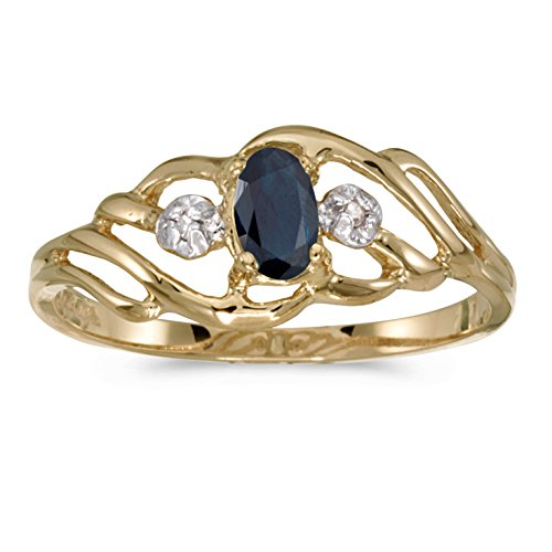 0.25 Carat (ctw) 10k Yellow Gold Oval Blue Sapphire and Diamond Fashion Cocktail Anniversary Ring (5 x 3 MM) - Size 8.5