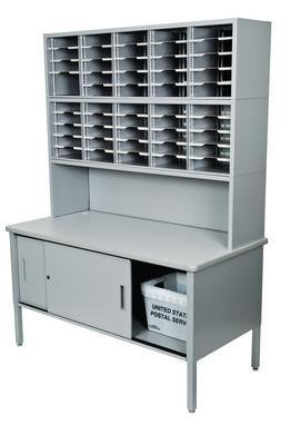 Marvel Mailroom Workstation - Adjustable Slot Literature Organizer With Riser And Cabinet - 84'' High - Gray - Gray by Marvel