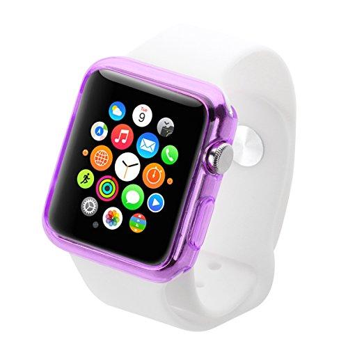Caja de manzana, HAWEEL ® Apple reloj 38mm caja Slim transparente estuche de protección para Apple reloj 38mm, transparente Purple 38mm