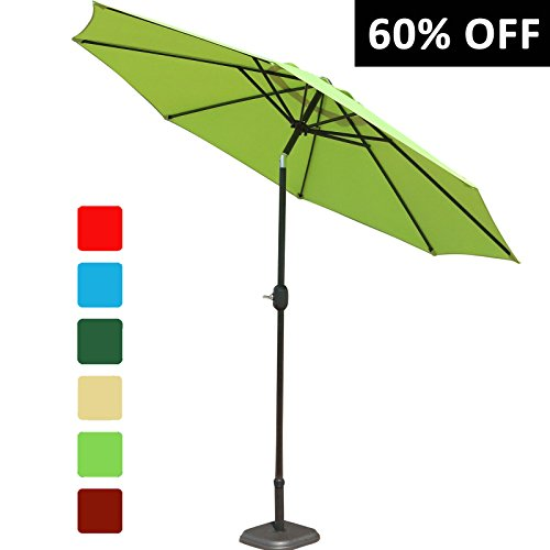 GOLDSUN Patio 9 Ft Market Outdoor Aluminum Patio Umbrella with Push Button Tilt and Crank,Lime Green