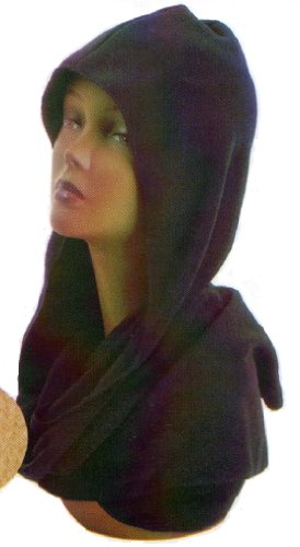 Ladies Womans Black Knit Hood Wrap Scarf Hat Womens Winter Head Cover (Knit Hood Scarf)