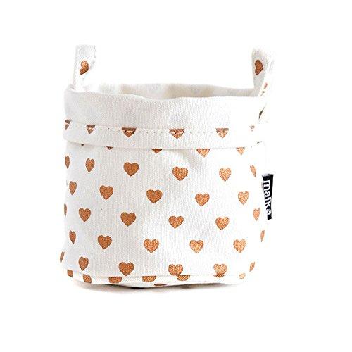 Maika Canvas Hearts Copper Bucket, Small