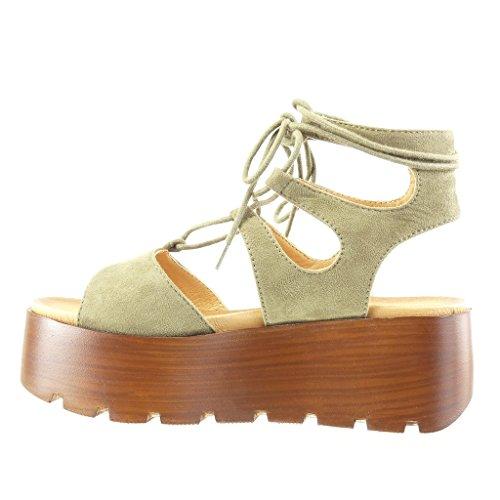 Angkorly Damen Schuhe Sandalen Mule - Plateauschuhe - Spitze - Multi-Zaum - Wooden Keilabsatz High Heel 6.5 cm Grüne