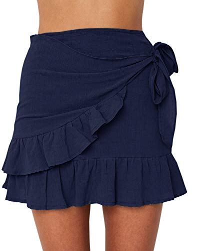 (Jeanewpole1 Womens Floral High Waisted Ruffle Short Mini Wrap Skirts (XX-Large, 1-Navy))