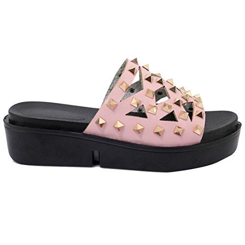 AIYOUMEI Damen Offene Plateau Pantoletten Slipper Sandalen mit Nieten Bequem Sommer Draussen Schuhe nNHVoOtj