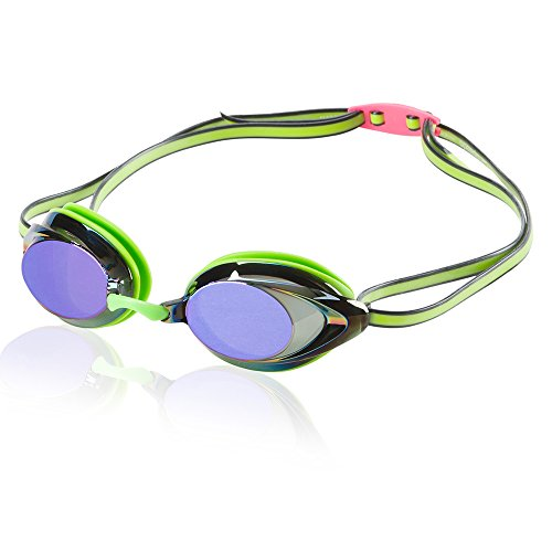 Speedo Vanquisher 2.0 Mirrored Swim Goggles, Panoramic, Anti-Glare, Anti-Fog with UV Protection, Key Lime, 1SZ