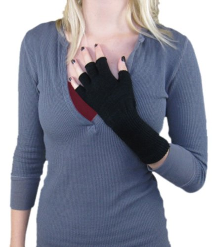 Black Fingerless Gloves Knit Cut Off Texting Gloves Goth (Black Fingerless Gloves)