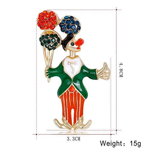 New Circus Crystal Christmas Rhinestone Xmas Clown Brooch Jewelry Pin