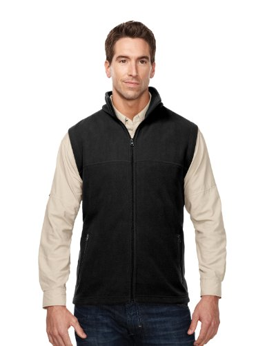 Tri-Mountain Expedition Midweight Micro-Fleece Vest, 3XL, BLACK Polyester Microfleece Vest