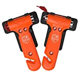 Swiss Safe 5-in-1 Car Safety Hammer (2-Pack), Emergency Escape Tool with Car Window Breaker and Seatbelt Cutter for First Responders and Roadside Safety Kits