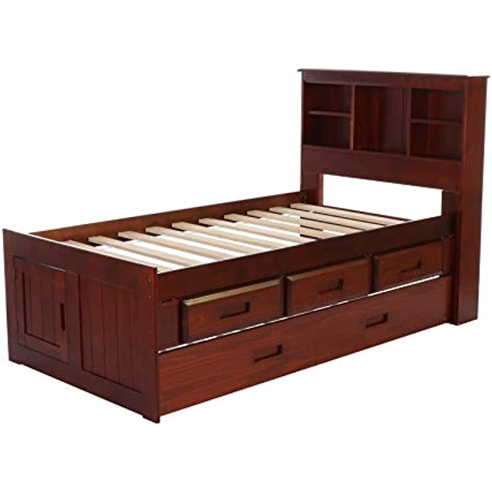 Twin Size Platform Bed Frame With Trundle Bed Storage