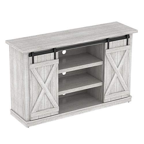- Simple Living Products Industrial 54'' TV Stand - Antique Rustic Look - Sliding Doors - Vintage Design (White Oak)
