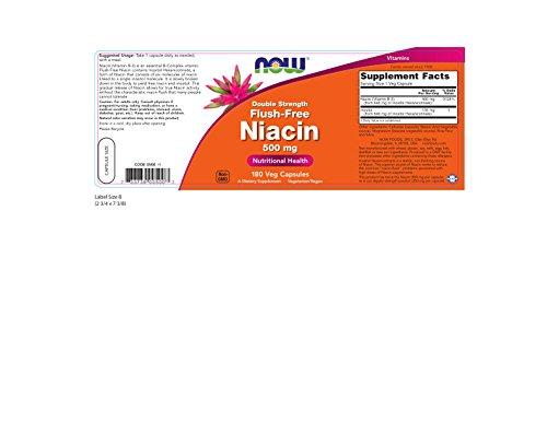 NOW Flush-Free Niacin 500 mg,180 Veg Capsules