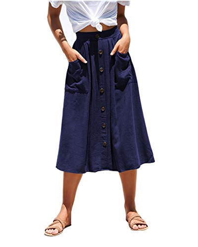 Azue Womens A Line Midi Skirt Elastic Waist Front Button Casual Pleated Skirt with Pockets Navy Blue Large (fits Like US 10-12)