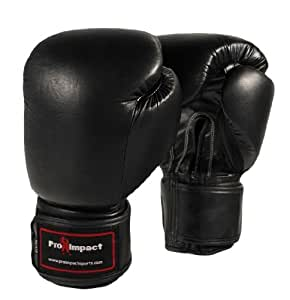 Genuine Leather Boxing Gloves Black 16 Oz. Pro Impact ($80 Value)