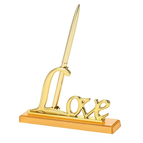 Walmeck Wedding Signing Pen with Love Holder Wedding Signature Pen Set Decoration Supplies for Guest - Set Pen Signature Holder