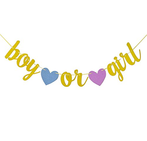 Fecedy Gold Glitter Gender Reveal Boy or Girl Banner For Baby Shower Party ()