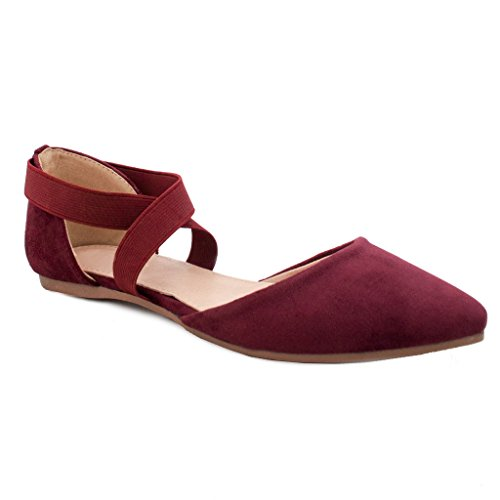 [Women's Criss Cross Comfort Elastic Ankle Strap Toe Ballet Flat (Burgundy-B)] (Criss Cross Mary Jane)