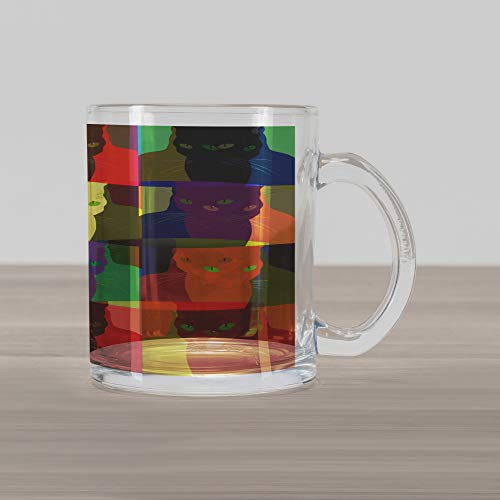 Lunarable Cat Glass Mug, Pop Art Style Featured Fractal Kitty Portraits Frame with Color Effects Artsy Print, Printed Clear Glass Coffee Mug Cup for Beverages Water Tea Drinks, Multicolor
