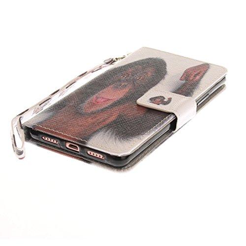 Funda Huawei P9 lite,SainCat Funda de cuero sintético tipo billetera con correa de cordón de Suave PU Carcasa Con Tapa y Cartera,Ranuras para Tarjetas y Billetera Funda de Flip Ranuras Tarjeta Slots F Mono