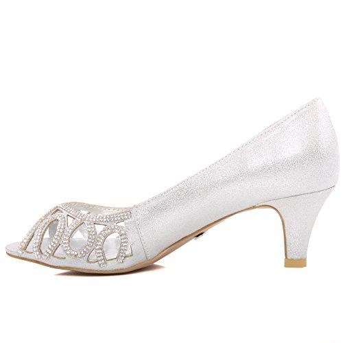 Unze Mujer 'Bronte' Evening Court zapatos Reino Unido tamaño 3-8 Plateado
