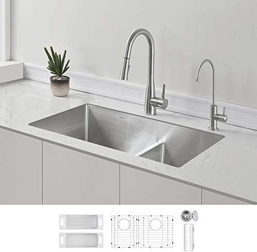 ZUHNE 32-Inch Low Divide Undermount Kitchen Sink 16 Gauge Stainless Steel 60 40 Smart Divider