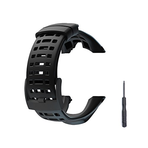 to Watch Band Strap, Soft Rubber Watchbands Replacement Kits, Watch Accessories for Suunto Ambit 1/2/2S/2R/3Sport/3Run/3PEAK (Black, Include 1Screwdriver) ()