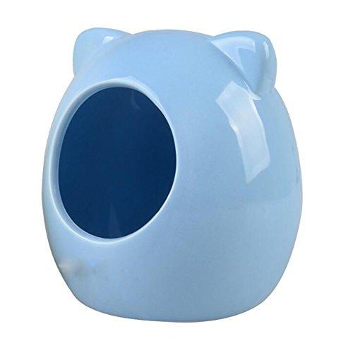 (JOLIN'S SHOP Cartoon Ceramic Small Animal Hideout House Hamster Bathroom House Sleep Bed (Blue))