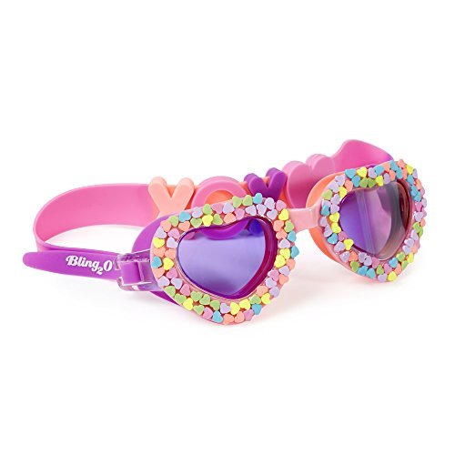 Heart Bling Bling (Swimming Goggles For Kids by Bling2O - Anti Fog, No Leak, Non Slip and UV Protection - Pink and Purple Candy Hearts Fun Water Accessory Includes Hard Case)