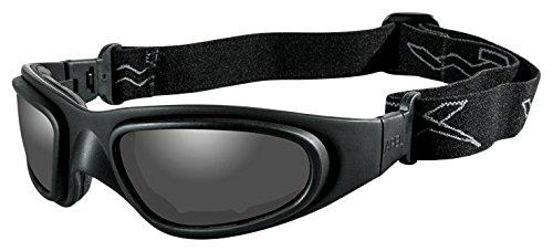 Gloss Black Nylon Frame (Wiley X SG-1 Goggles, Smoke Grey/Clear, V Cut/Matte Black)