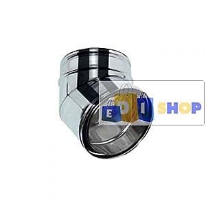 MBM Chimenea aislada Aire DN 080/100 Curva 30 ° Tubo Doble Pared INOX 316