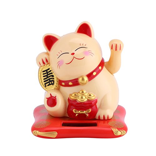 Acogedor Solar Waving Cat Good Luck Cat, Welcoming Cat,Car Decoration,Desk ()